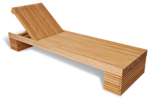Solid Teak Slatted Garden Sun Lounger with Wheels