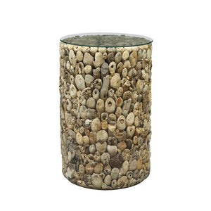 Tall Round Driftwood Glass Top Side Table