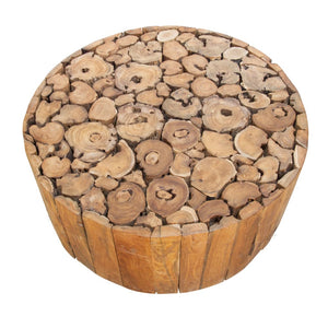 Teak Root Coffee Table on Wheels