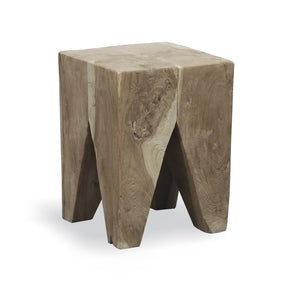 Teak Root Square Stool Grey