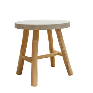 Teak Side Table with Terazzo Top