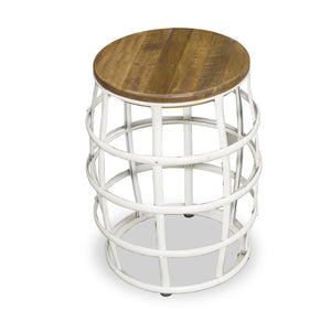Urban Industrial White Barrel Frame Stool and Side Table
