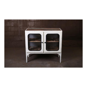 Vintage Medical Glass Cabinet Style Buffet 2 Doors