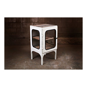 Vintage Medical Glass Cabinet Style Side Table