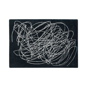 Wool Scribble Rug Black and White