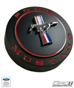 1966 Mustang Standard Gas Cap, Restomod Black Finish, Vented w/ Security Cable