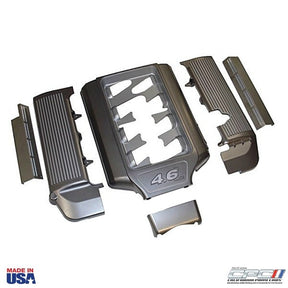 "2005-2010 4.6L ""Open Runner Plenum Engine Dress Up Kit Without Fuse Box Cover, Gun Metal"
