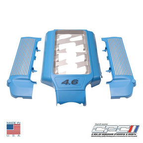 2005-2010 4.6L 3V Open Runner Engine Dress Up Kit, Grabber Blue w/ Silver Fins