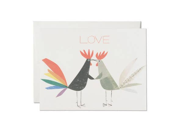 Red Cap Cards // Rooster Love Greeting Card