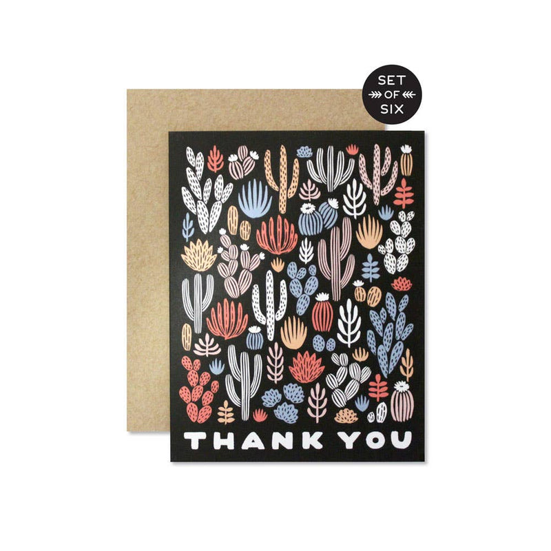 Thank You Cactus Card - Boxed Set of 6