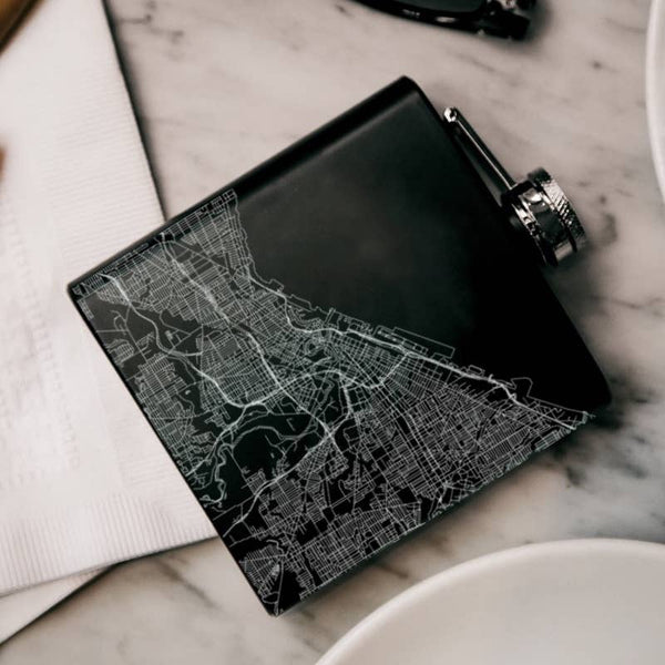 Cleveland Map Hip Flask in Matte Black