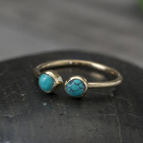 Double Faceted Turquoise Ring