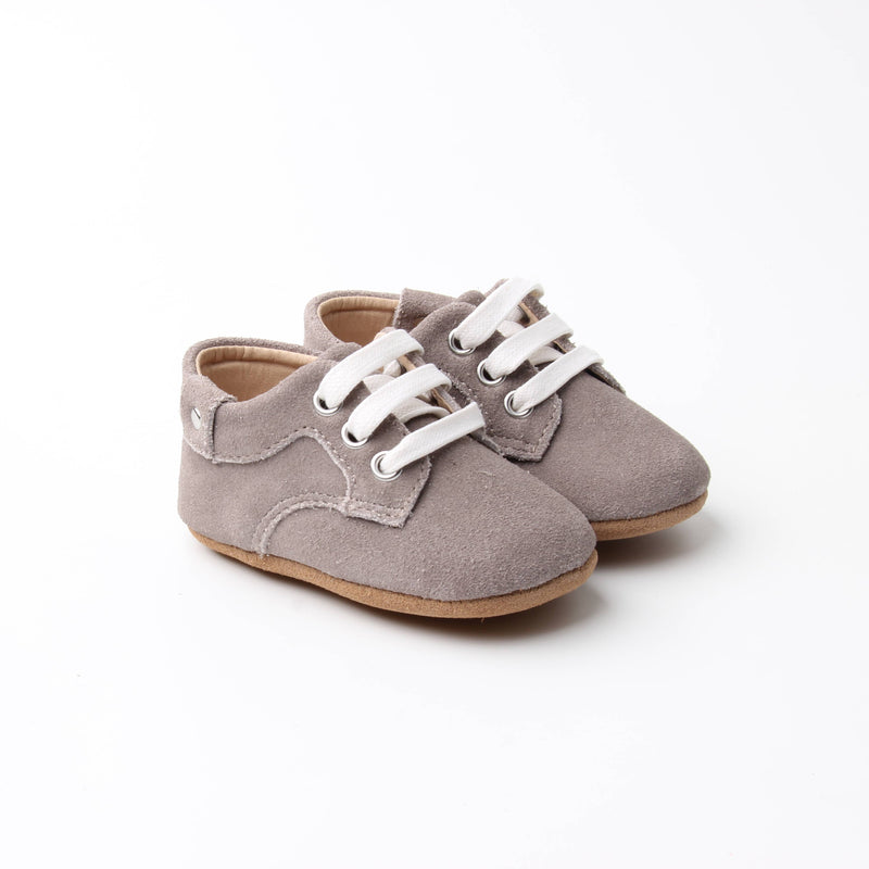 Grey Leather Baby Shoes