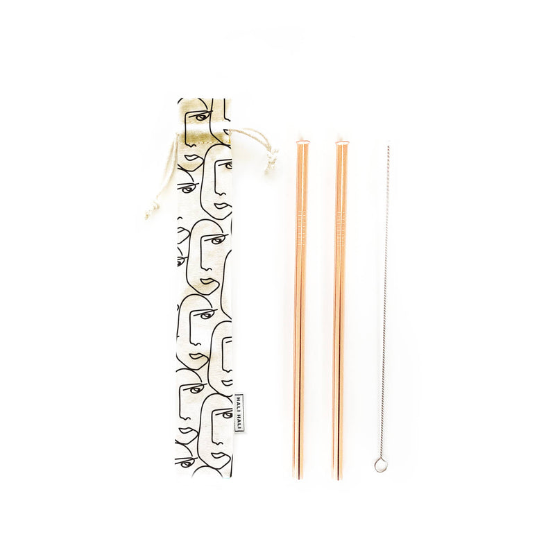 Hali Hali LLC - 4 pc Eco Friendly Reusable Straw Set - Face To Face