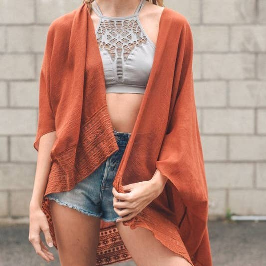 Lace Border Trim Kimono // Burnt Orange
