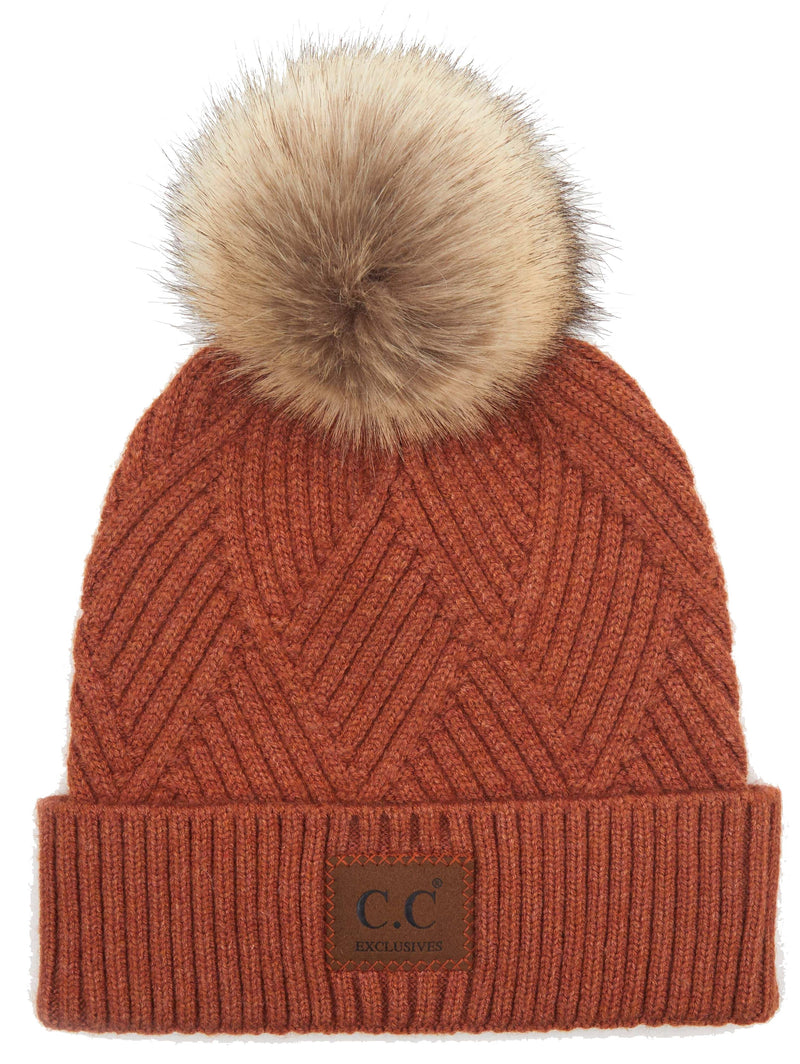 Rust Diagonal Stripe Beanie Hat with Pom