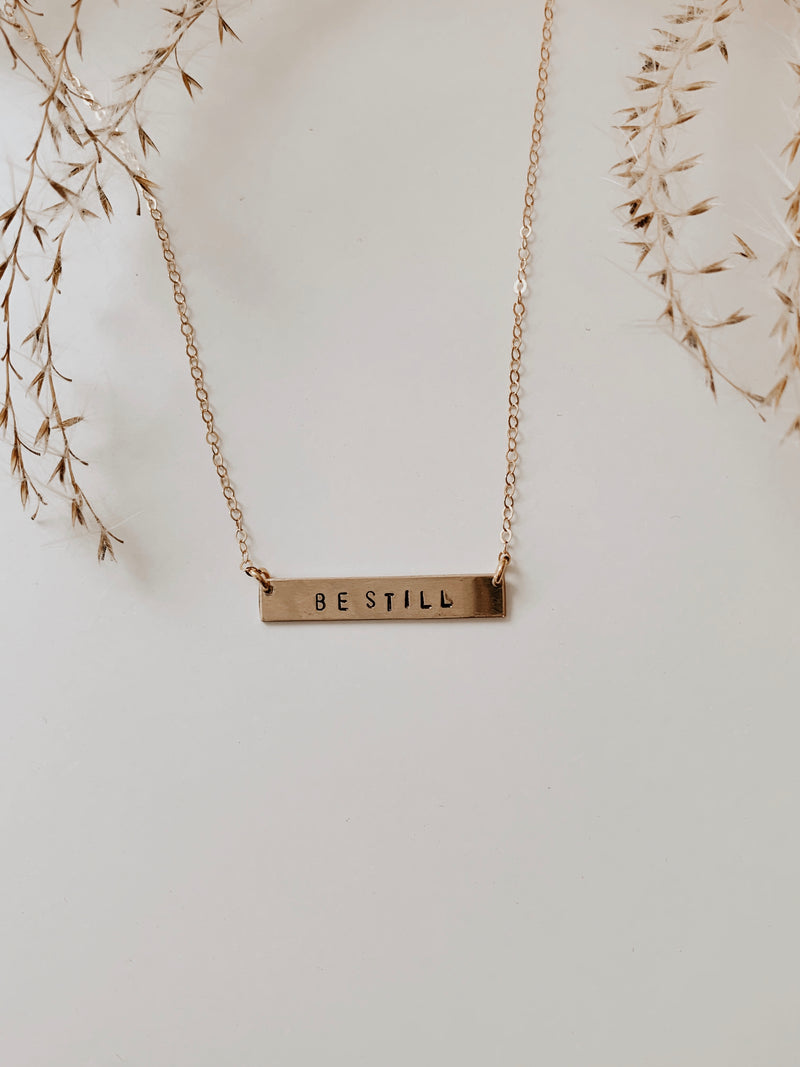 'Be Still' Stamped Bar Necklace