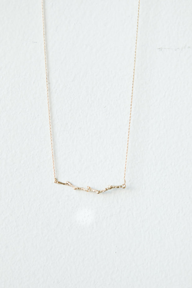 Horizontal Branch Gold Necklace 1