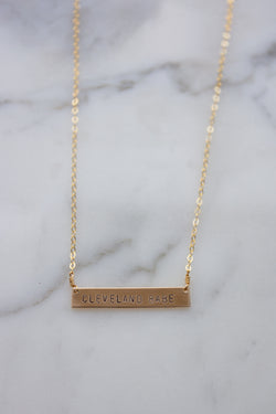 'Cleveland Babe' Stamped Bar Necklace