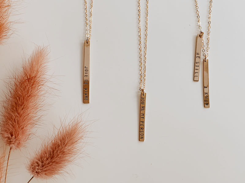 Custom Stamped Vertical Bar Necklace