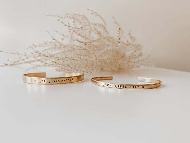 Stamped Brass Cuff - Océanne Favorite Quotes