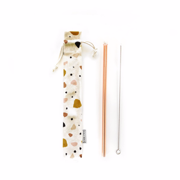 Hali Hali LLC - 3 pc Eco Friendly Reusable Straw Set - Terrazzo
