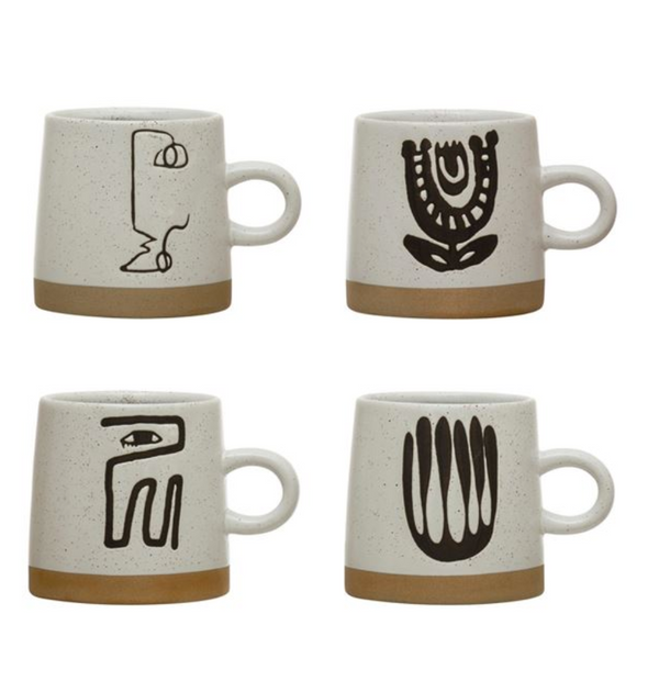 Stoneware Mug with Abstract Design