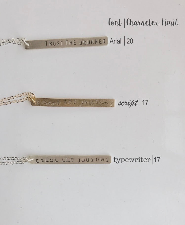 'Trust The Journey' Stamped Bar Necklace