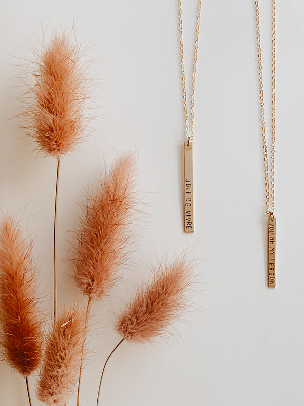 Stamped Vertical Bar Necklace