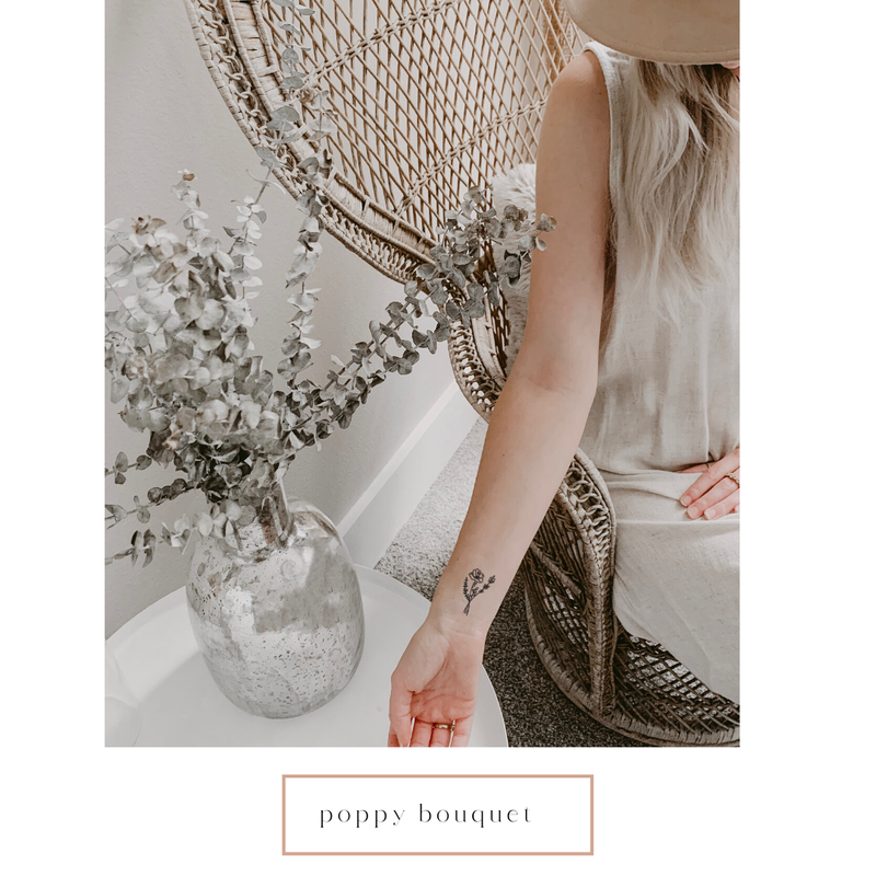 Poppy Bouquet Temporary Tattoo