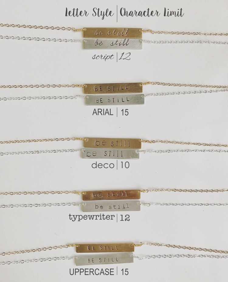 Custom Stamped Horizontal Bar Necklace