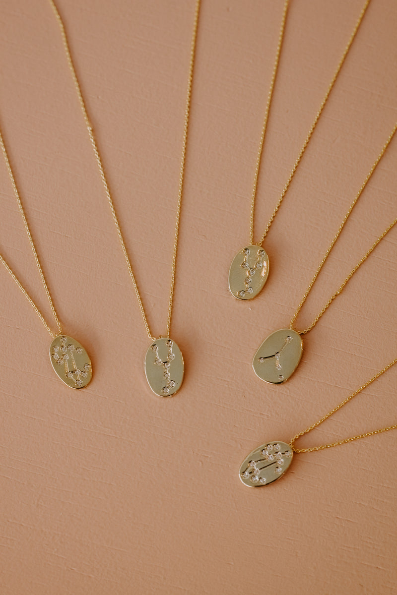 Oval Zodiac Constellation Necklace