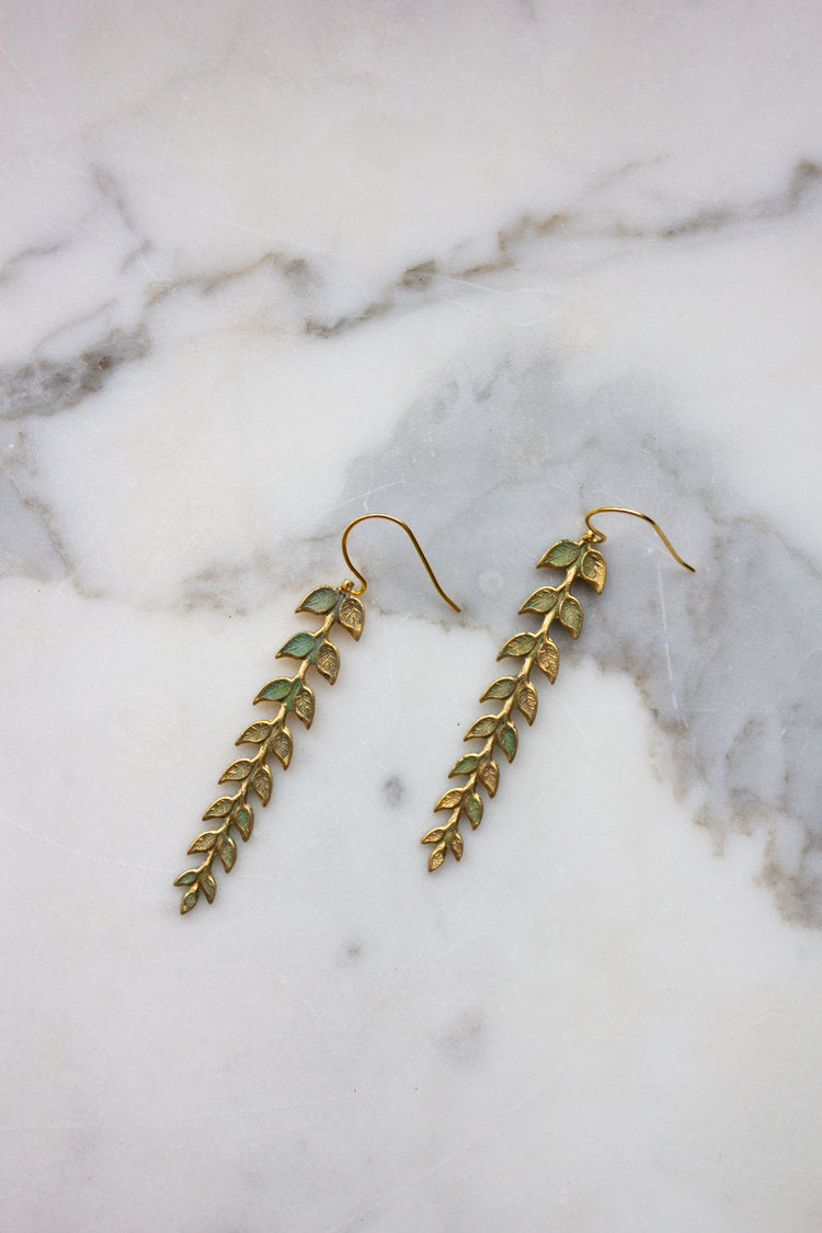 Verdigris Athena Leaf Earrings