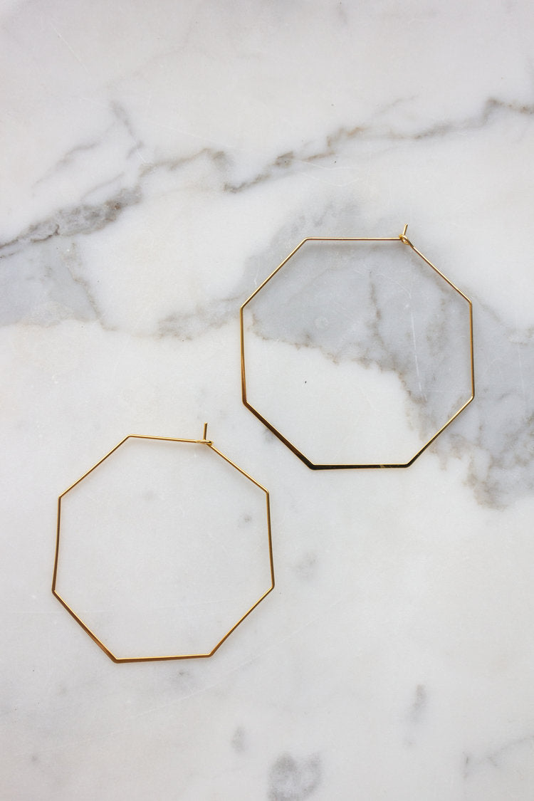 Dainty Hex Hoops Earrings