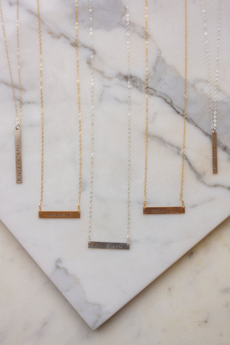 'Je Suis Forte' Stamped Bar Necklace