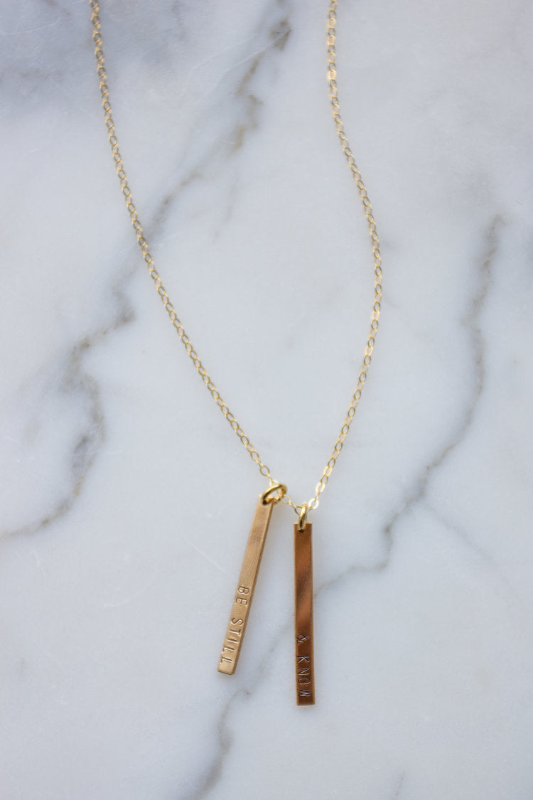 Be Still and Know Double Bar Necklace