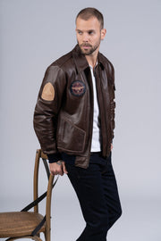 Flight Jacket MERMOZ Marron Aerobatix vetements pilote avion