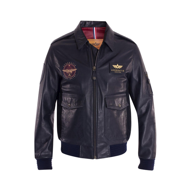 Flight Jacket MERMOZ Aerobatix Bleu Marine vetements pilote avion