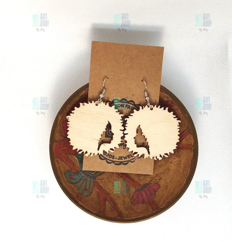 Afro Silhouette Natural Wood Color 1.5""