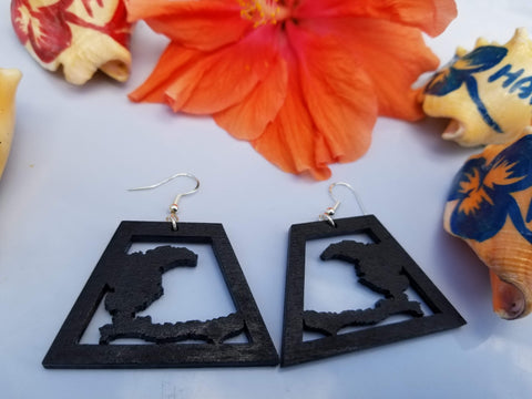 Outline of Map of Haiti in a Trapezoid Shape  Earrings - Black