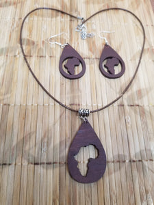 Map of Africa Statement Teardrop Earrings and Necklace Set- Brown
