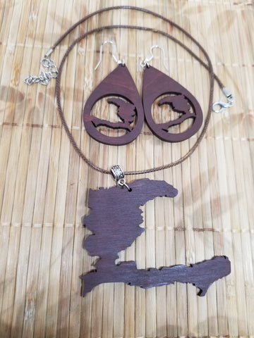 Map of Haiti Statement Teardrop Earrings and Necklace Set- Brown