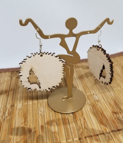 Afro Crown Silhouette- Natural Wood Color
