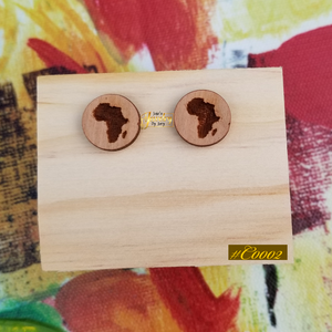 Africa Wooden Stud Statement Earrings