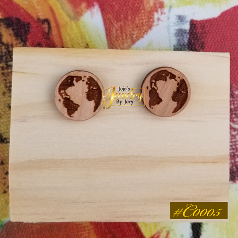 Citizen of the World Wooden Stud Earrings
