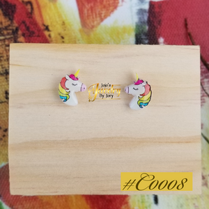 Unique Unicorn Kids Resin Statement Stud Earrings