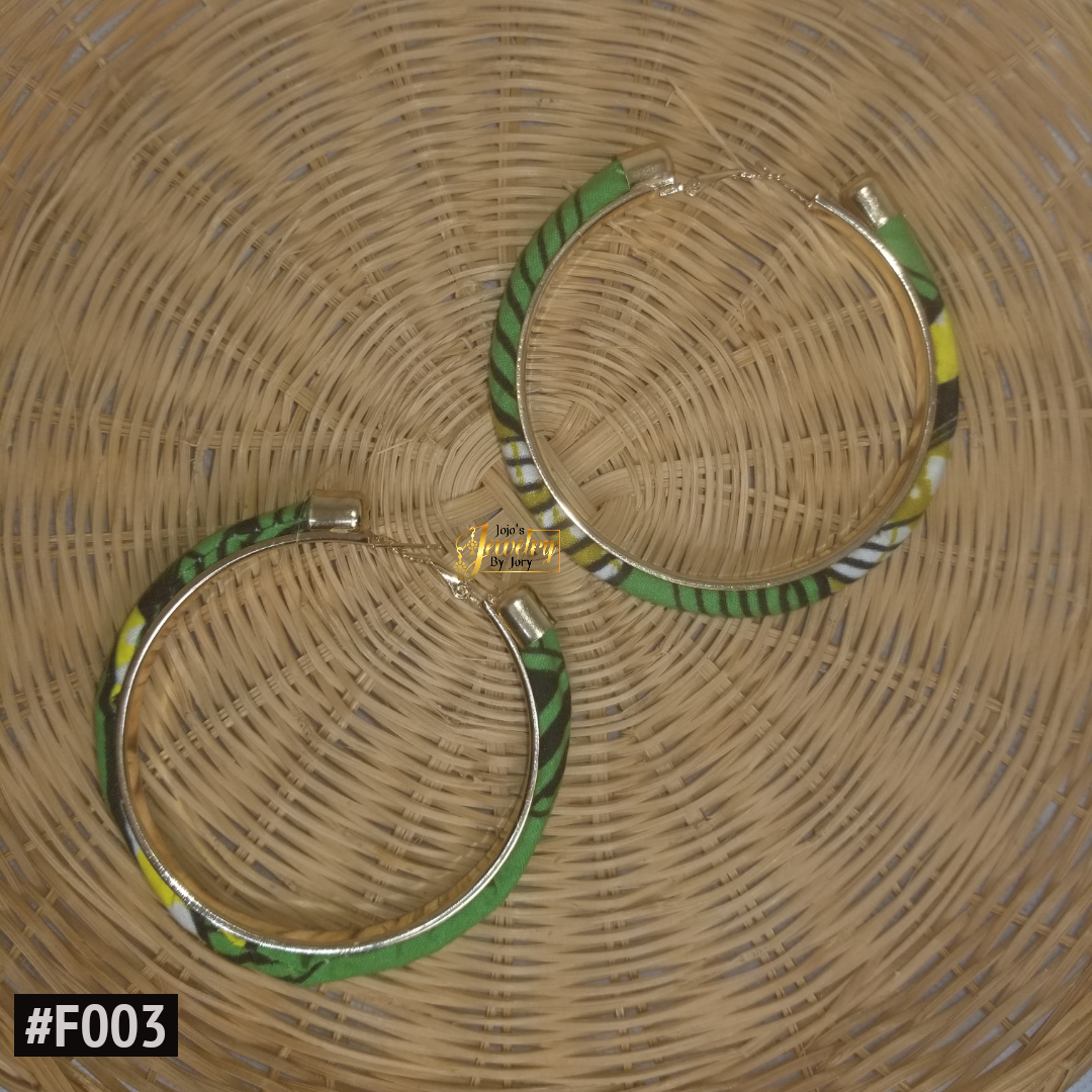 Green & Yellow Hoop African Print Fabric Earrings