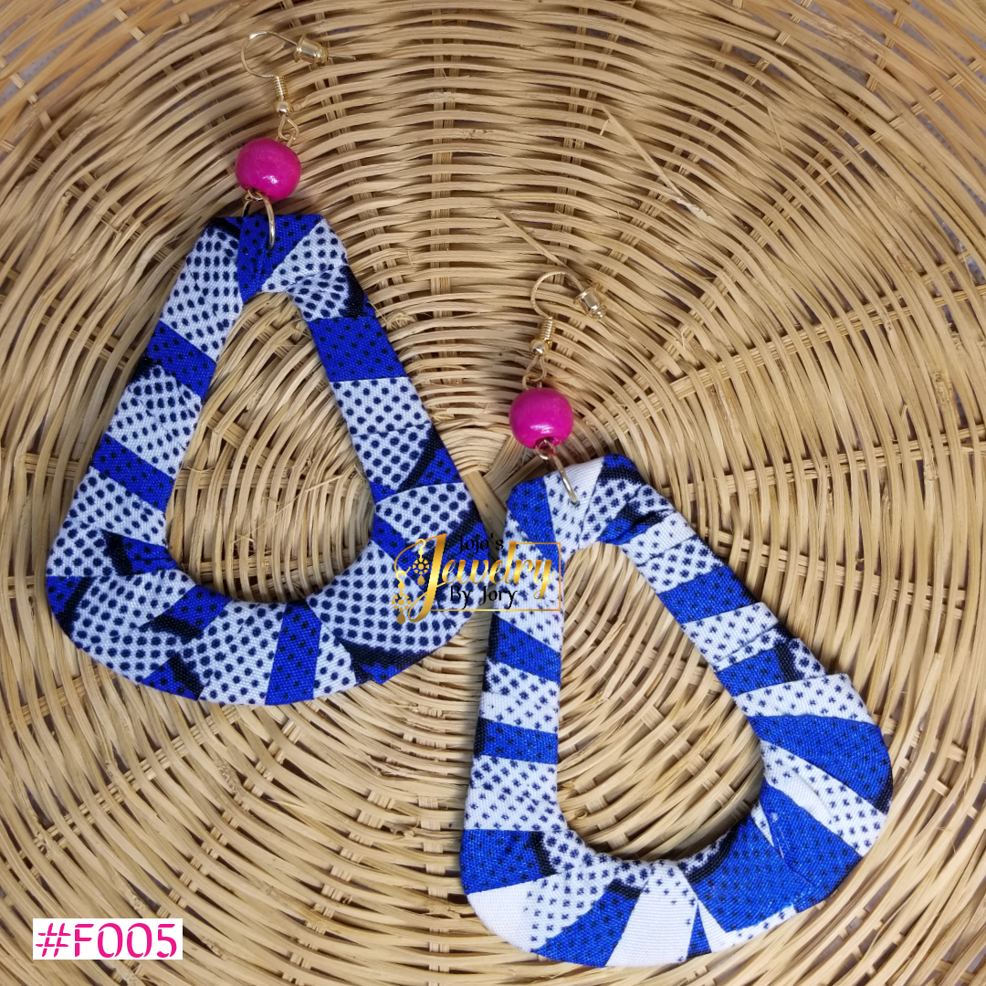 Blue & White Teardrop African Print Fabric Earrings