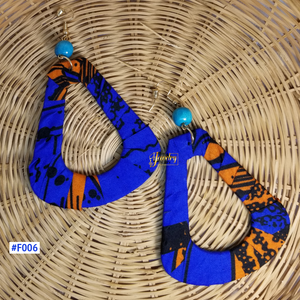 Blue & Orange Teardrop African Print Fabric Earrings