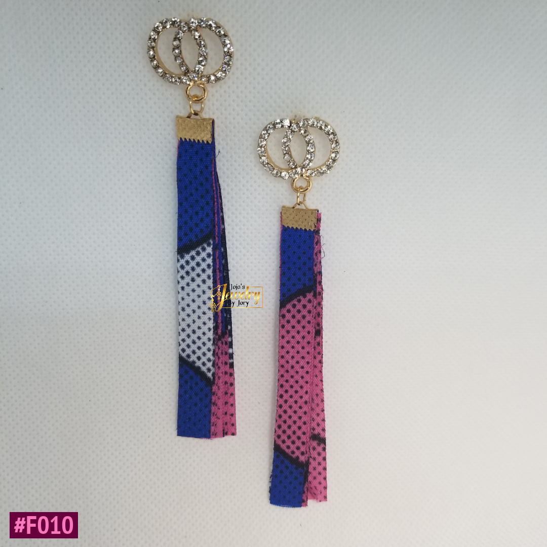 Blue & Pink Dangle African Print Fabric Earrings